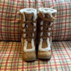 AEROSOLES tan suede boots fur lined mid-calf 11